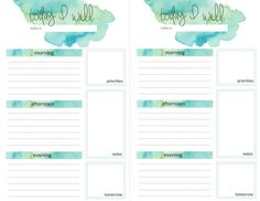 teal watercolor daily planner printable pages