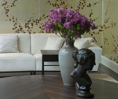 'Plum Blossom' design in full custom design colours on White Metal gilded paper. Courtesy of Giorgetti SpA.