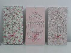 Trio de quadros em MDF, forrados com tecido 100% algodão, gaiolas em MDF, perfeitos para decorar quartos de bebe.