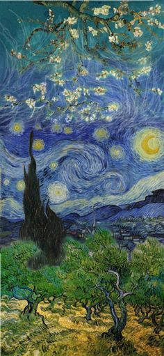 whoever combined starry night, almond blossoms and the olive trees is amazing… really stunning