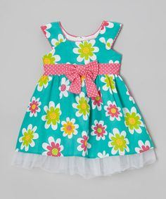 Look what I found on #zulily! Mint Daisy Tulle A-Line Dress - Toddler & Girls #zulilyfinds