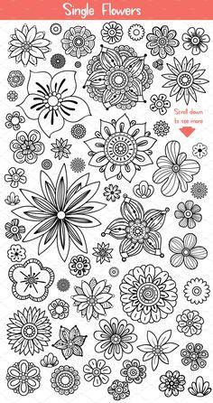 Doodle Patterns 557883472595369561 - Illustrations Product Images ~ Floral Doodles C… ~ Creative Market Source by damret Doodle Art Drawing, Zentangle Drawings, Mandala Drawing, Doodling Art, Mandala Doodle, Cute Doodle Art, Design Art Drawing, Doodle Art Journals, Zen Doodle