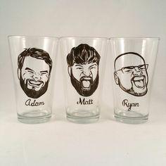 Set of 3 - Cool Groomsmen Gift - Vintage Style Original Caricature Beer Glass- Hand Painted Beer Glass