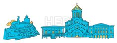 Tbilisi Georgia Colored Panorama by Hebstreit #drawing #sketch #travel #pen #download #digital #vector #art #stockimage #hebstreit