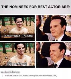 is is strange to say a 37 year old man is a cutie? lol k i dont care- ANDREW U SUCH A CUTIE AWWW :P XD <<< that's totally fine. Especially when his name is Andrew Scott ^ Sherlock Cast, Jim Moriarty, Sherlock Fandom, Sherlock John, Andrew Scott, Xavier Dolan, Dane Dehaan, Martin Freeman, Funny