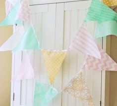 21 Fabric Flags, 9 Feet Bunting, Mint, Pale Pink, Mocha, Cream, Polka Dot, Chevron, Baby Nursery Decor, Wedding Decor, Birthday Party
