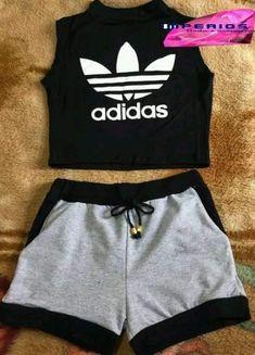 Trendy Sport Outfit Women Short - Erma V. Adidas Outfit, Nike Outfits, Teen Fashion Outfits, Outfits For Teens, Sport Outfits, Trendy Outfits, Summer Outfits, Womens Fashion, Shorts Adidas