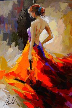 Gros peinture à l'huile peinture nu Sexy Lady femme.