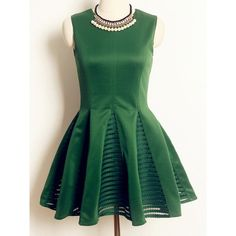 Vintage Sleeveless Solid Color Hollow Out Lace Splicing A-Line Dress For Women