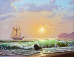 10307257-Oil-painting-on-canvas-sailboat-against-a-background-of-sea-sunset--Stock-Photo.jpg (1300×1017)