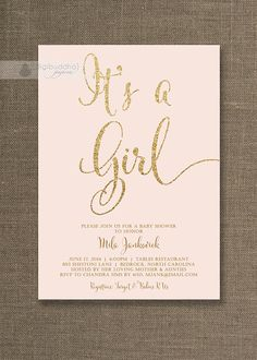 Blush Pink & Gold Baby Shower Invitations with gold glitter shabby chic It's a Girl by digibuddhaPaperie, $20.00