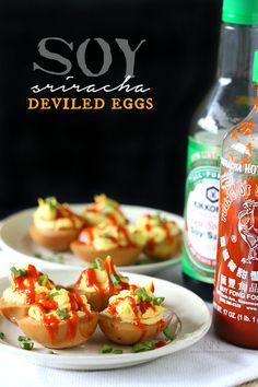 Soy Sriracha Deviled Eggs by Nutmeg Nanny