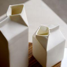 A hollow porcelain cream carton handmade by ceramics artist Jatta Lavi. Inside of the carton is glazed. Helsinki, Ceramic Artists, Glaze, Porcelain, Ceramics, Cream, Handmade Gifts, Milk, Gift Ideas