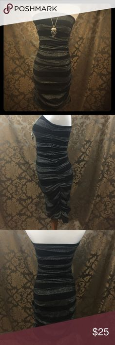 Super fitted party dress Black and silver striped mini party dress- scrunched sides so it can hug all curves! The Limited Dresses Mini