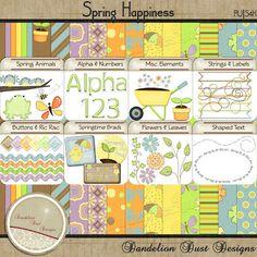 Digital Scrapbooking Spring Happiness Kit #DandelionDustDesigns #DigitalScrapbooking
