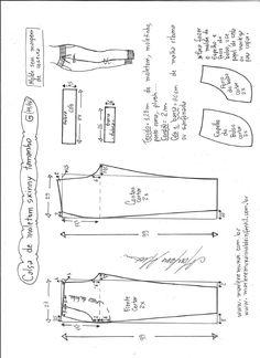 Esquema de modelagem de calça de moletom skinny G.