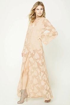 Forever 21 Contemporary - A semi-sheer mesh maxi dress featuring an allover rose embroidery, button front, V-neckline, and long bell sleeves.