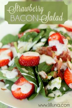 This salad is SO yummy! Must remember it for the future - Strawberry Bacon Salad { lilluna.com }