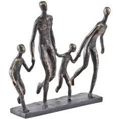 Antique Bronze Family Of Four Holding Hands Sculpture (140 CAD) ❤ liked on Polyvore featuring home, home decor, hand sculpture, contemporary sculpture, antique bronze sculpture and contemporary home decor