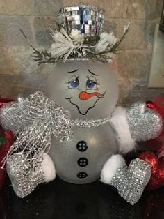 I would do it without the arms and legs. Check out the webpage to see more about Homemade Christmas Decorations Snowman Christmas Decorations, Christmas Ornament Crafts, Snowman Crafts, Christmas Centerpieces, Christmas Snowman, Diy Christmas Gifts, Christmas Projects, Winter Christmas, Holiday Crafts