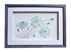 Genuine sea glass flowers, Sea glass art, Pebble art new home housewarming gift…                                                                                                                                                     More