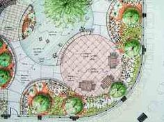 Diagonal oval lawn interrupted by circular patio and arc of planting.