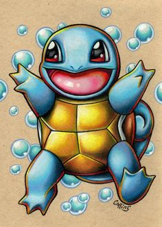 Squirtle Starter Pokemon art print by Bryan Collins - Anime and Manga World 2020 Pokemon Craft, Cool Pokemon, Easy Pokemon, Pokemon Room, Pokemon Ships, Pokemon Comics, Pokemon Fan, Charmeleon Pokemon, Lucario Pokemon