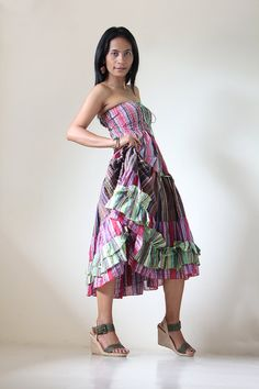 Smocked Maxi Dress or Long Skirt Boho Hippie Patchwork  by Nuichan, $52.00--- Senior Pic