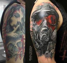 Cover-up tattoo on shoulder by Masha Grishyna Cover Up Tattoos For Men, Black Tattoo Cover Up, Cover Tattoo, Tattoos For Guys, Knee Tattoo, Arm Tattoo, Sleeve Tattoos, Retro Tattoos, Hot Tattoos