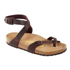 Yara Natural Leather Habana £69.95 Cross-strap, toe loop sandal with adjustable buckles on the front and ankle straps. Featuring cork latex footbed and shock absorbing EVA sole