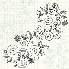 Disegnati a mano e schizzi di bozzetti portatile vigneti e fiori illustrazione royalty-free