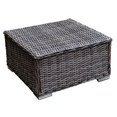 Outdoor Woodard Bay Shore Wicker End Table with Glass Top - S509201
