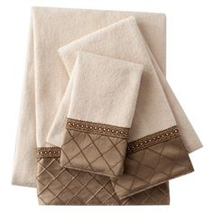 Sherry Kline Pleated Diamond 3 Pc Decorative Towel Set Hall Bath And Helen