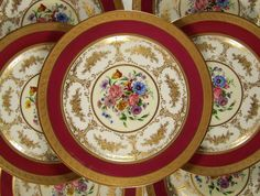 Antique French Limoges Porcelain Hand Painted & Raised Gold Encrusted Dinner Plates