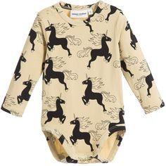 Mini Rodini Beige Unicorn Print Organic Cotton Baby Bodysuit