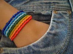 Rainbow Bracelet, Beaded Memory Wire Wrap Around Bracelet,Long Wrap Seed Bead Bangle, Seven Colors of the Rainbow, Multi Layer Bracelet Mens Beaded Necklaces, Beaded Anklets, Seed Bead Bracelets, Seed Bead Jewelry, Beaded Jewelry, Handmade Jewelry, Diy Necklace Making, Diy Hair Scrunchies, Etsy