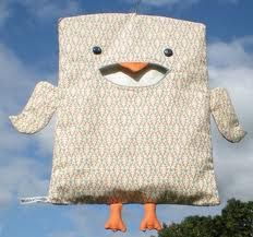 Chick peg bag. I started designing these in 2007; first a ( much copied) cat, then an owl...then birds and all sorts of other characters. Labour intensive but fun to make! I  still make them sometimes- just ask!
