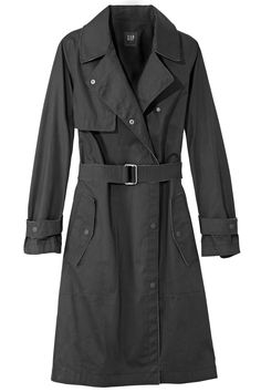 """""""Every wardrobe needs a trench coat, and black looks luxe and is easy to maintain. I had a white one once, and it always looked dirty. This is also the ideal trans-seasonal coat for a misty work morning or a hot date on a balmy evening."""" Gap coat, $148, gap.com.     - HarpersBAZAAR.com"""