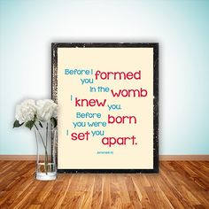 Nursery Bible Verse Print, Scripture art, Christian wall decor poster, Inspirational Jeremiah - Before I formed you - digital on Etsy, $5.00