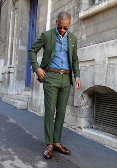 olive suit + denim shirt