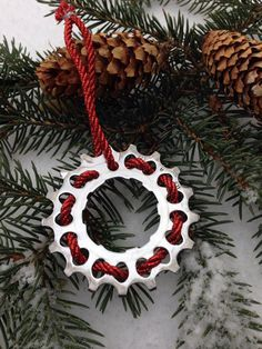 Christmas decorations made from bicycle parts