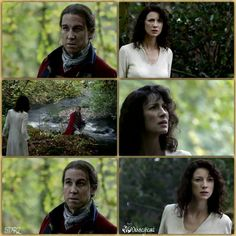 Claire Randall's first meeting with Black Jack Randall after she time travelled at Craigh na Dun. | Outlander S1E1 'Sassenach' on Starz