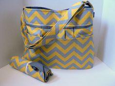 Monterey Chevron Diaper Bag Set - Grey And Yellow Chevron Or Custom Design Your Own - Large 10 Pockets on Etsy, $133.00