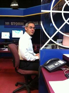"You asked for it! Here's a behind-the-scenes picture of Chief Meteorologist Tom O'Hare in the weather center. Clearly caught off guard! He says ""I'm asking for it."" You know what happened if you don't see me tonight at 5:30 :P"