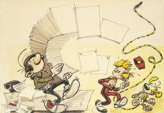 Franquin - gaston portant des contrats accompagné de spirou et du marsupilami; dessin au feutre mis en couleurs à l'aquarelle sur papier à dessin. milieu des années 60. dessin inédit et non publié, offert à un ami proche de franquin. 34,5 x 40 cm andré franquin (etterbeek 1924–saint-laurent-du-var 1997)