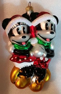 Christopher Radko Disney Ornaments Holiday Skaters 1996 Mickey Minnie Christmas