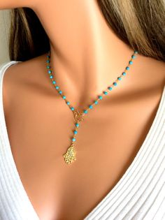 Gold Filled Hamsa Turquoise Gemstones Rosary by divinitycollection, $85.00
