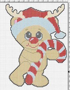 RUDY REINDEER WITH A CANDY CANE by JODY VIGEANT -- WALL HANGING