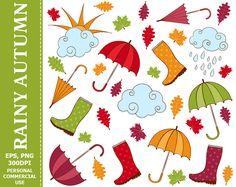 BUY 1 GET 1 FREE Digital Rainy Autumn Clip Art - Rain, Umbrella, Rain boots, Leaves, Sun Clip Art. Commercial and Personal use
