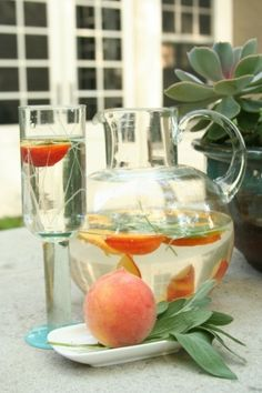 peach + sage infused water. Had this tonight - amazing!  Will be making it this spring/summer for hydration at work in my new infusion bottle! ~tlh